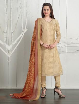 Beige hue cotton silk angrakha salwar suit