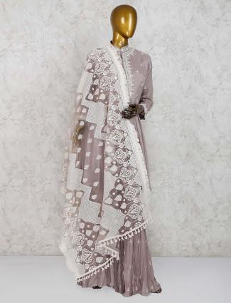 Grey color pretty cotton silk punjabi sharara suit