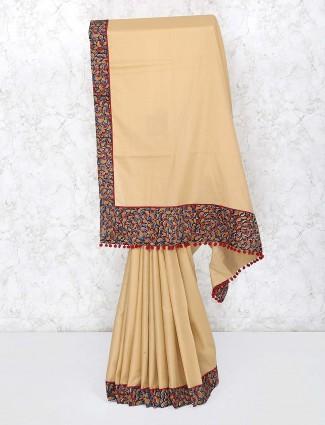 Beige hue festive classic saree