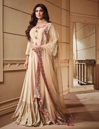 Beige hue festive cotton silk floor length salwar suit