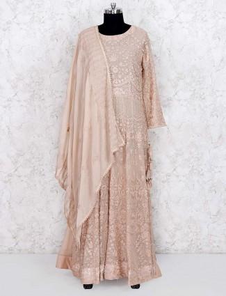 Beige hue festive georgette floor length salwar suit