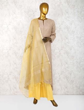 Beige hue festive wear cotton silk punjabi palazzo suit