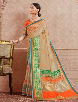 Beige hue festive wear cotton silk saree