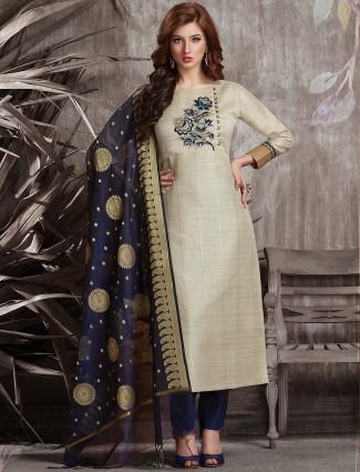 Beige hue festive wear punjabi salwar suit