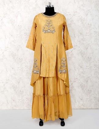 Beige hue festive wear raw silk designer salwar suit