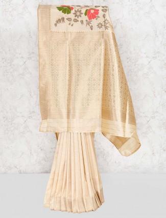 Beige hue lovely festive saree