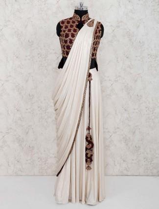 Beige hue lycra ready to wear saree