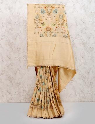 Beige hue muga silk classic saree