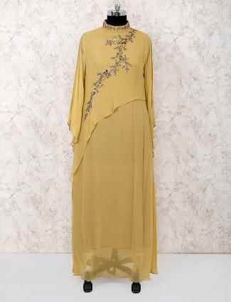 Beige hue party wear designer salwar suit