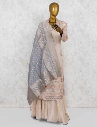 Beige hue pretty festive wear punjabi palazzo suit