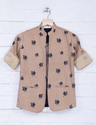Beige hue printed chinese collar blazer