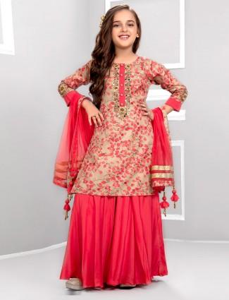 Beige hue punjabi sharara suit in cotton fabric