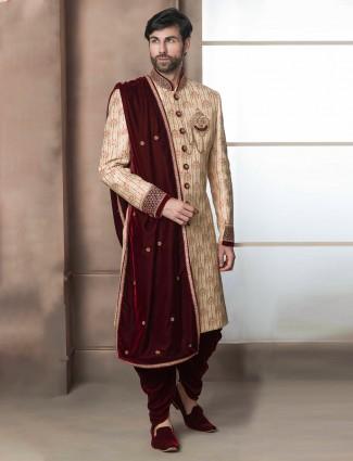 Beige hue raw silk mens indo western for wedding wear