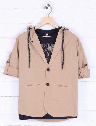 Beige hued cotton fabric blazer