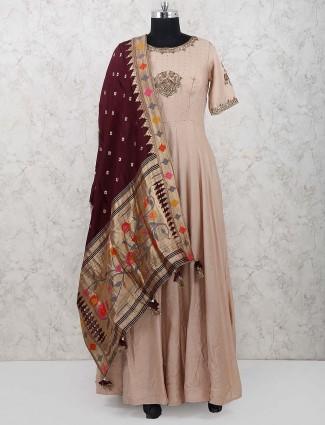 Beige hued designer cotton silk anarkali suit