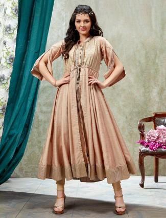 Beige jacket style cotton silk kurti in zari details
