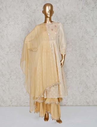 Beige latest designer palazzo suits in cotton silk