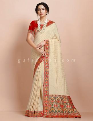 Beige muga silk traditional wear exclusive saree