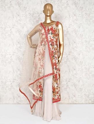 Beige palazzo salwar suit in cotton silk