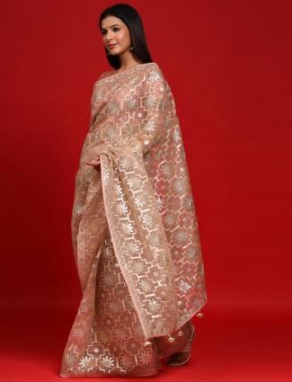 Beige party wear organza silk saree