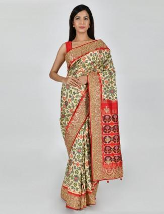 Beige patola silk wedding function saree