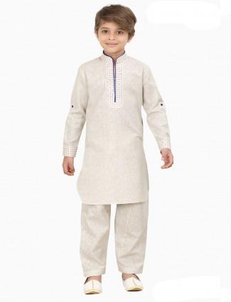 Beige plain cotton silk pathani suit
