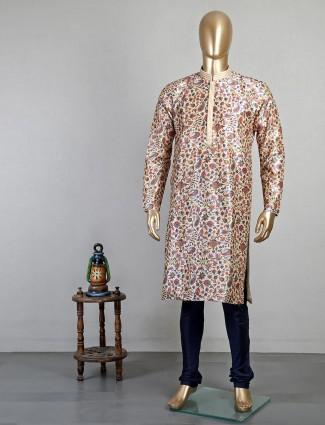 Beige printed cotton mens kurta suit for festive