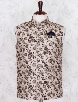 Beige printed jute fabric waistcoat