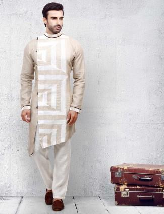 Beige printed pattern cotton fabric kurta suit