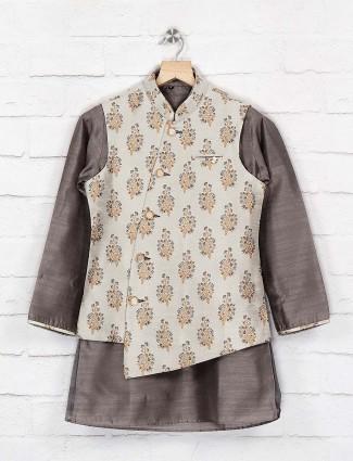 Beige printed pattern terry rayon waistcoat set