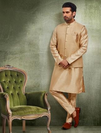 Beige raw silk brocade waistcoat set