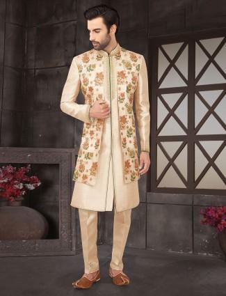Beige raw silk jacket style indo western for wedding