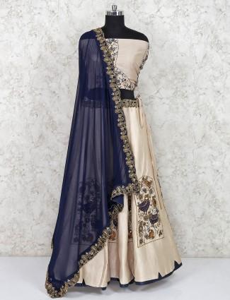 Beige raw silk wedding semi stitched lehenga choli