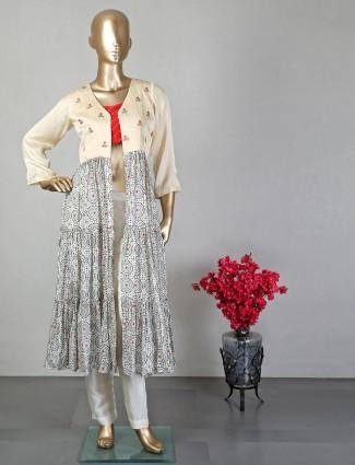 Beige semi silk indowestern salwar suit