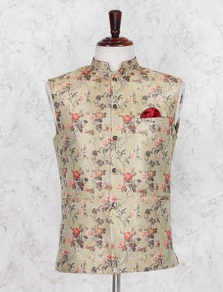 Beige silk fabric party printed waistcoat