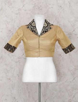 Beige silk fabric ready made blouse
