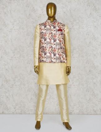 Beige silk fabric stand collar waistcoat set
