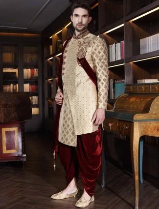 Beige silk wedding designer dhoti indo western