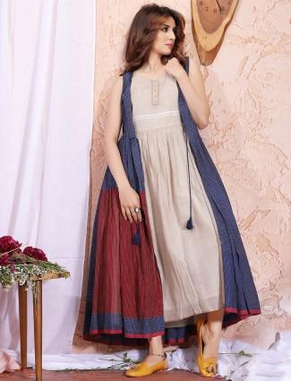 Beige solid cotton jecket style cotton kurti