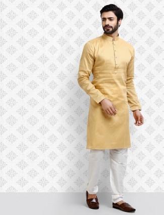 Beige solid full sleeves cotton kurta suit