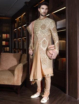 Beige stand collar designer double layer sherwani