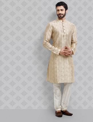Beige straight hem cotton fabric kurta suit
