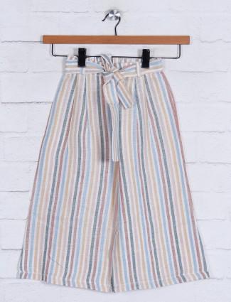 Beige stripe cotton girls capri
