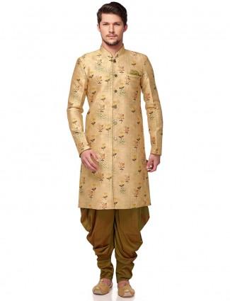 Beige terry rayon fabric printed semi indo western