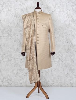 Beige wedding wear terry rayon indo western