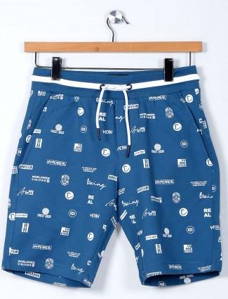Being Huaman printed blue cotton shorts