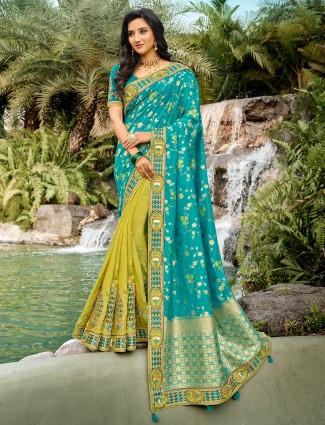 Best wedding wear yellow and aqua color half n half saree