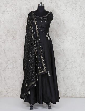 Black anarkali salwar suit in raw silk