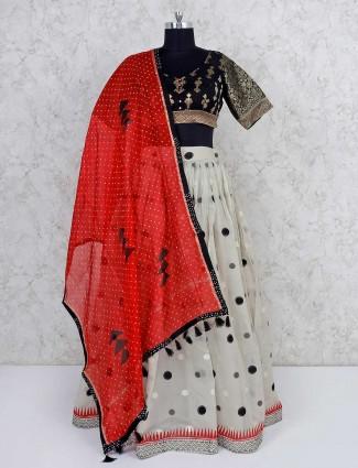 Black and cream cotton festive lehenga choli