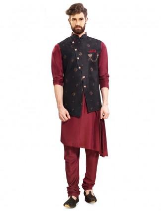 Black and maroon hue raw silk waistcoat set
